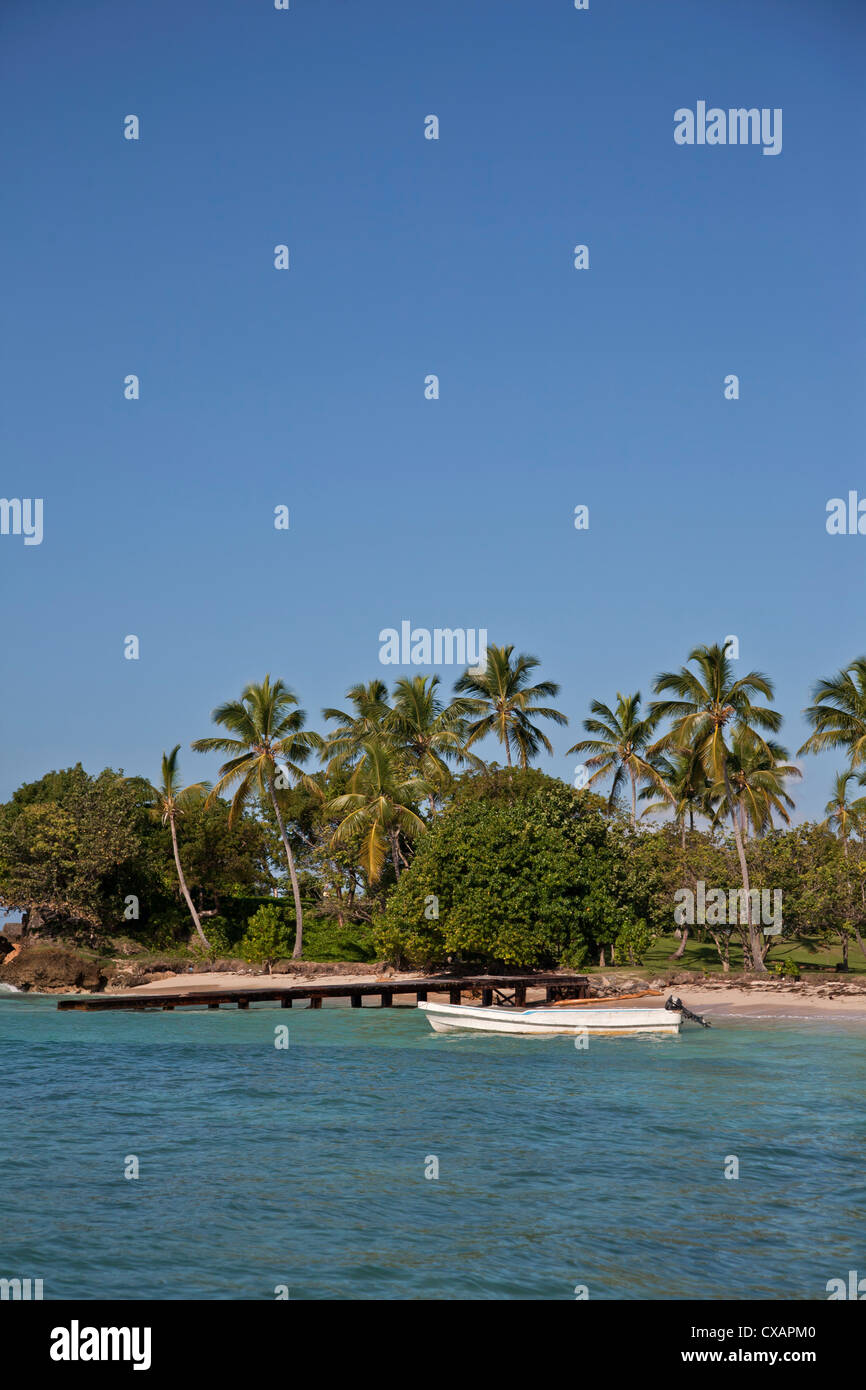 Beach, Cayo Levantado, Samana Bay, Dominican Republic, Greater Antilles, West Indies, Caribbean, Central America - Stock Image