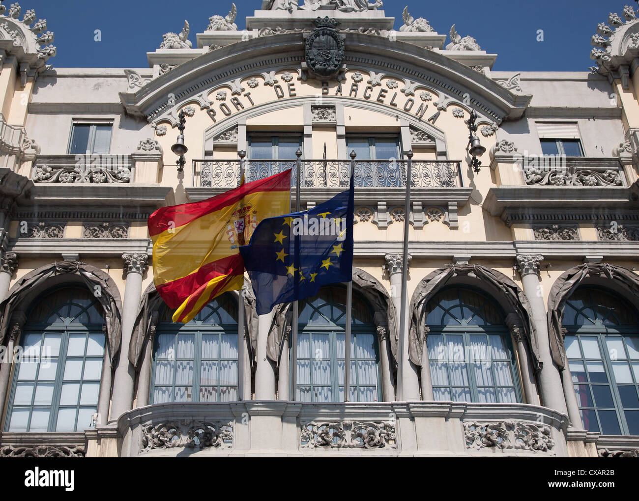 Old Barcelona Port Authority building (Port de Barcelona) at the base of Rambla del Mar, Barcelona, Catalonia, Spain, - Stock Image