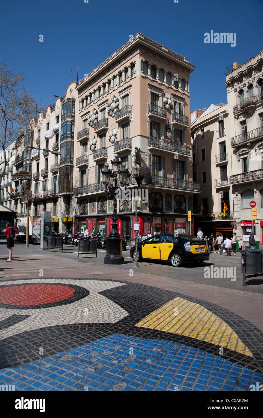 Pavement mosaic by Joan Miro on Las Ramblas, Barcelona, Catalonia, Spain, Europe - Stock Image
