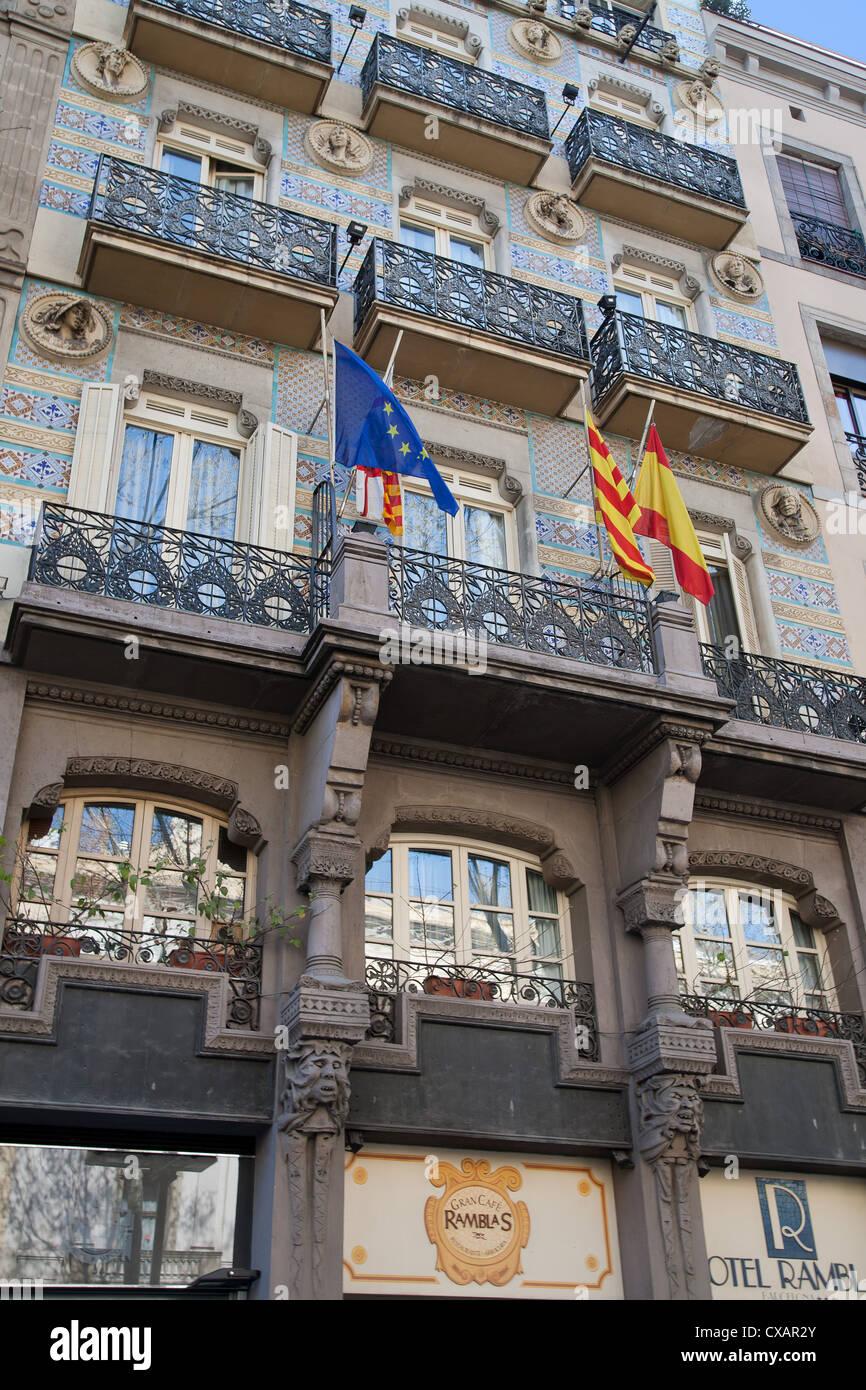 Detail of Spanish architecture, Las Ramblas, Barcelona, Catalonia, Spain, Europe - Stock Image