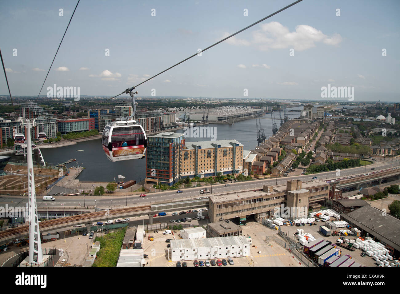 View from a cable car during the launch of the Emirates Air Line showing Excel Exhibition Centre in background, - Stock Image