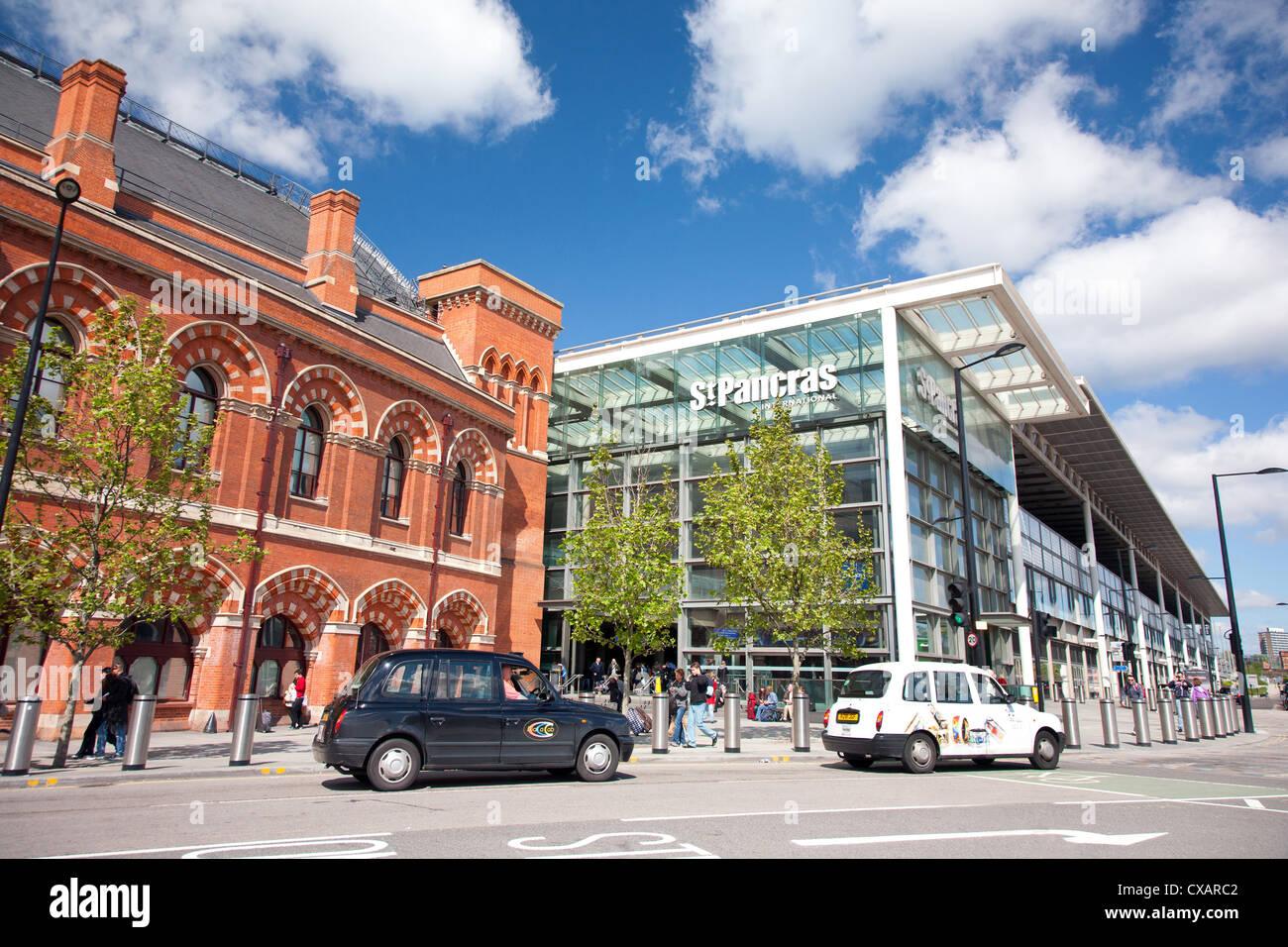 St. Pancras International Station entrance on Pancras Road, London, England, United Kingdom, Europe - Stock Image
