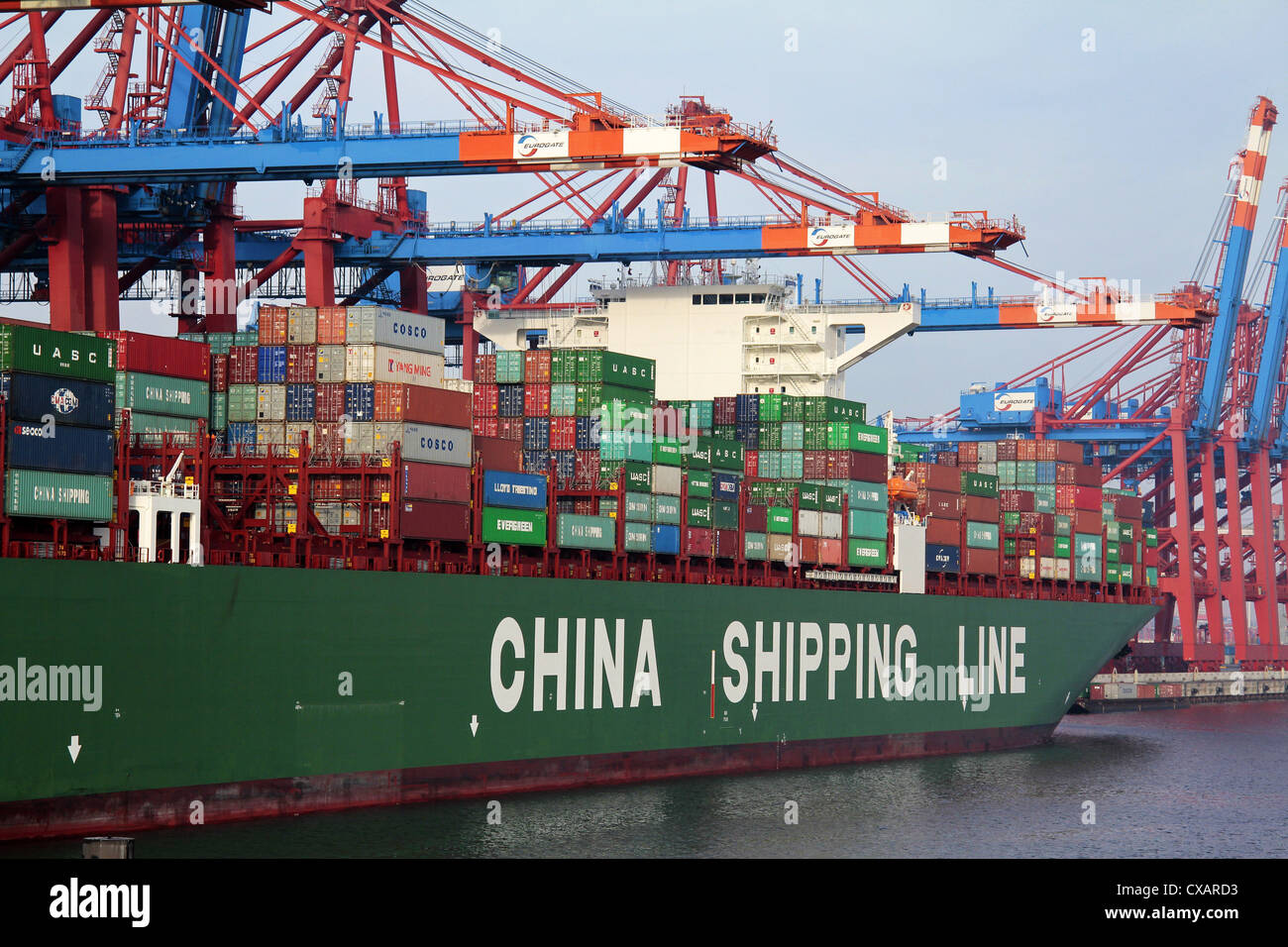 Container ship at Container Terminal, Hamburg harbour, Germany, Europe - Stock Image