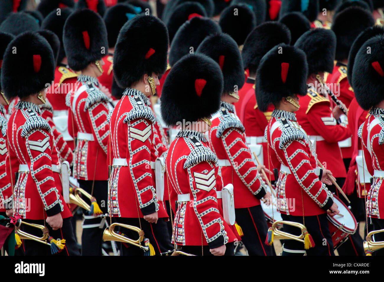 Soldiers at Trooping the Colour 2012, The Queen's Birthday Parade, Horse Guards, Whitehall, London, England, - Stock Image