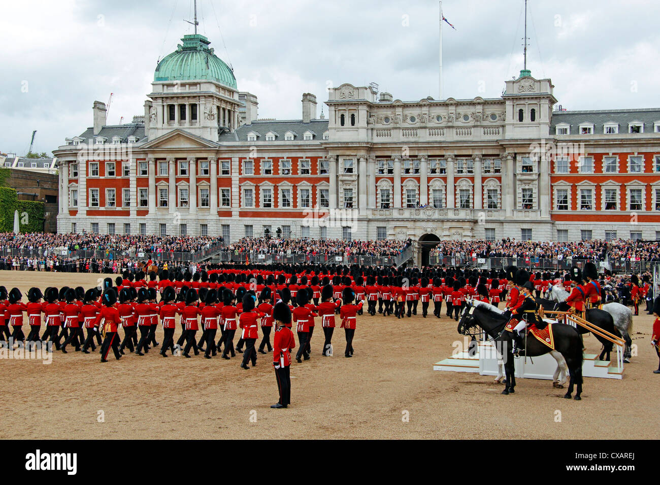 Soldiers at Trooping the Colour 2012, The Birthday Parade of the Queen, Horse Guards, London, England, United Kingdom, - Stock Image