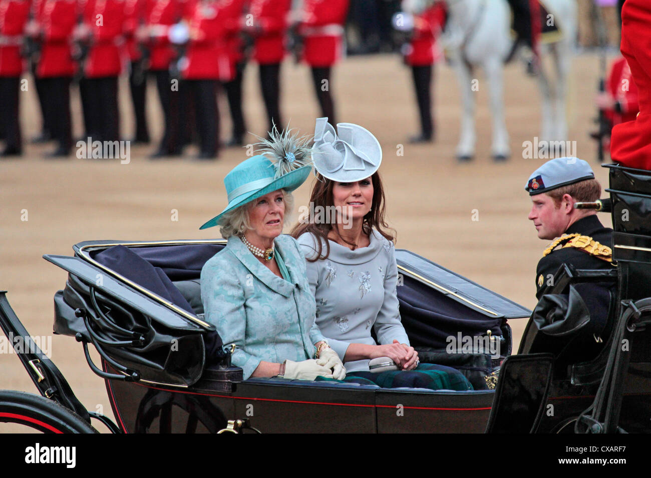 The Duchess of Cornwall, the Duchess of Cambridge and Prince Harry, The Queen's Birthday Parade, Whitehall, - Stock Image