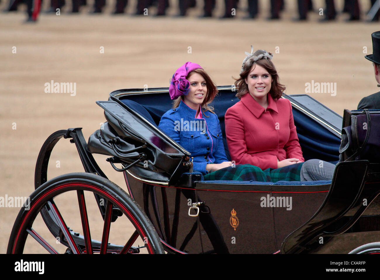 Princess Beatrice and Princess Eugenie of York, The Quuen's Birthday Parade, Whitehall, Horse Guards, London - Stock Image