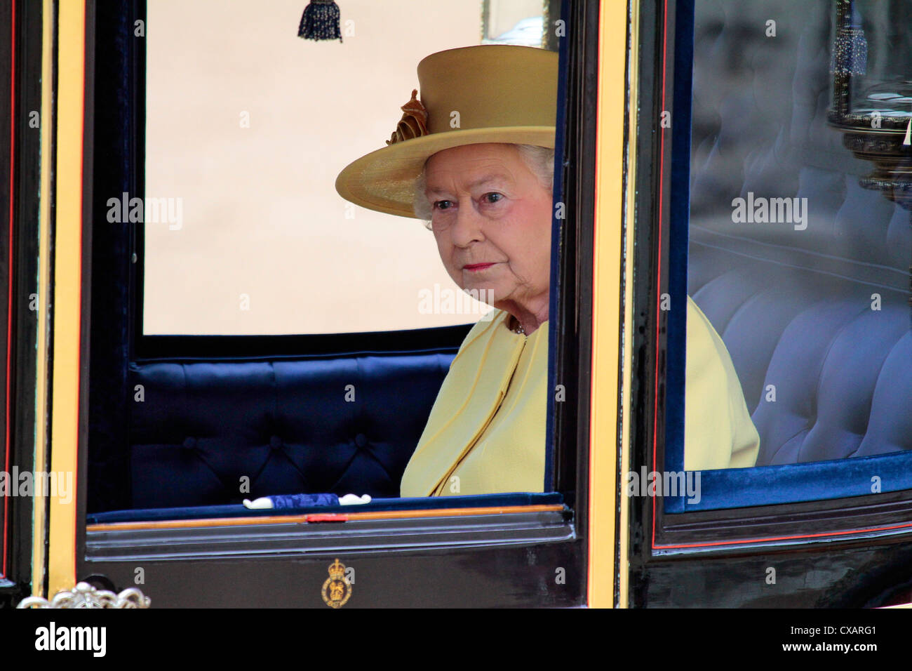 HM The Queen, Trooping the Colour 2012, The Queen's Birthday Parade, Whitehall, Horse Guards, London, England, - Stock Image