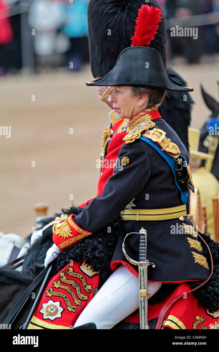 The Princess Royal, Trooping the Colour 2012, The Quuen's Birthday Parade, Whitehall, Horse Guards, London, England Stock Photo
