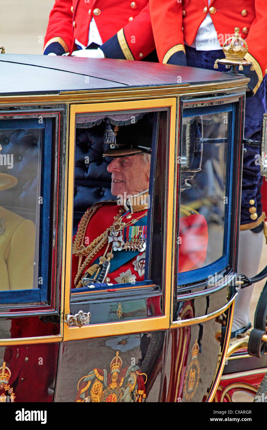 HRH Prince Philip, Trooping the Colour 2012, The Queen's Birthday Parade, Whitehall, Horse Guards, London, England - Stock Image