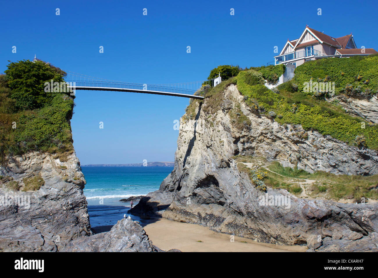 Towan Beach, Newquay, Cornwall, England, United Kingdom, Europe - Stock Image