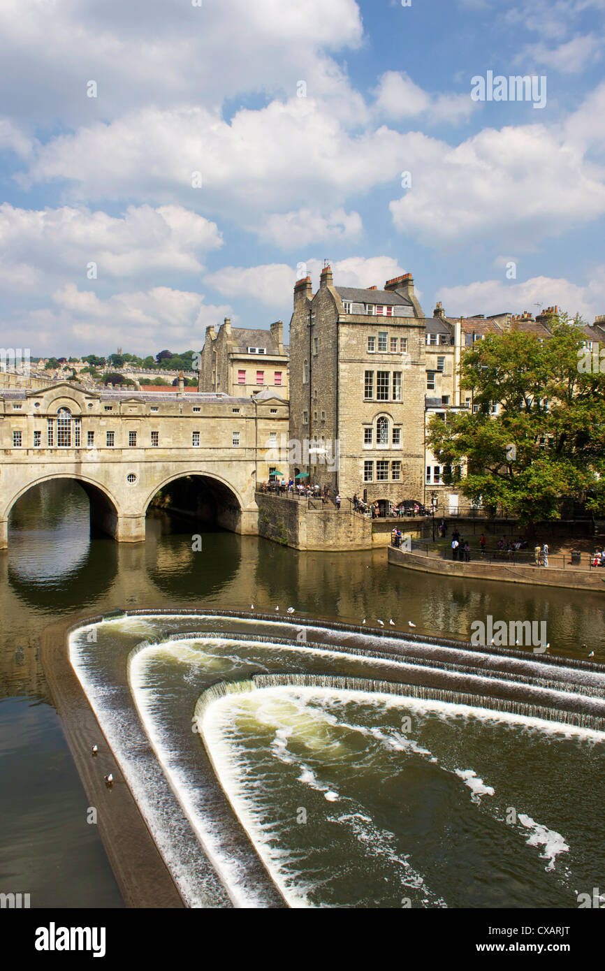 Pulteney Bridge and River Avon, Bath, UNESCO World Heritage Site, Avon, England, United Kingdom, Europe - Stock Image