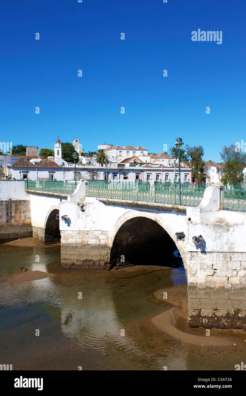 Roman Bridge and Old Town, Tavira, Algarve, Portugal, Europe - Stock Image