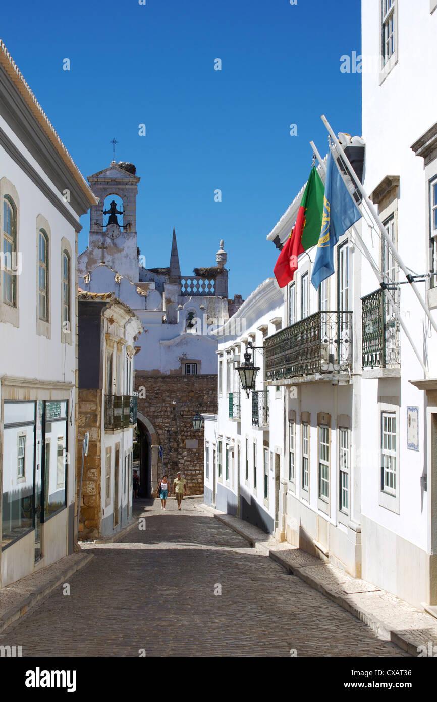 Arco da Vila, Old Town, Faro, Algarve, Portugal, Europe - Stock Image