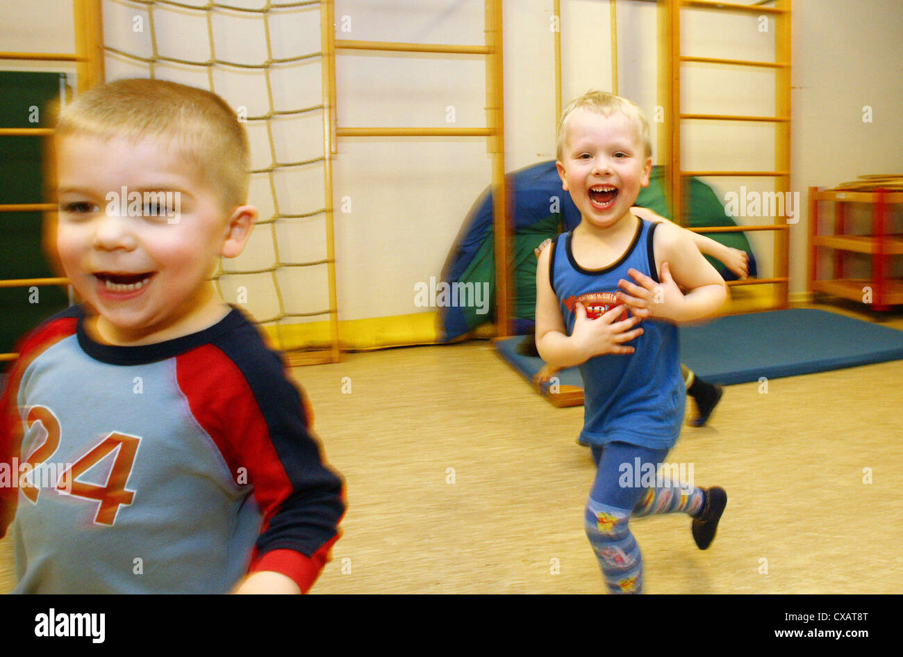 Physical Education in a Kindertagesstaette Stock Photo