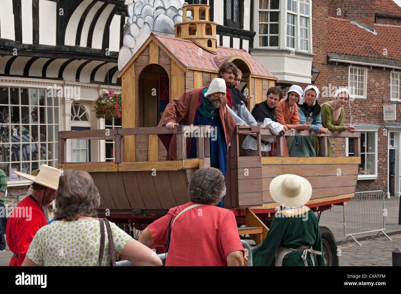 Noah and the Ark performance at the Mystery Plays wagon York North Yorkshire England UK United Kingdom GB Great - Stock Image