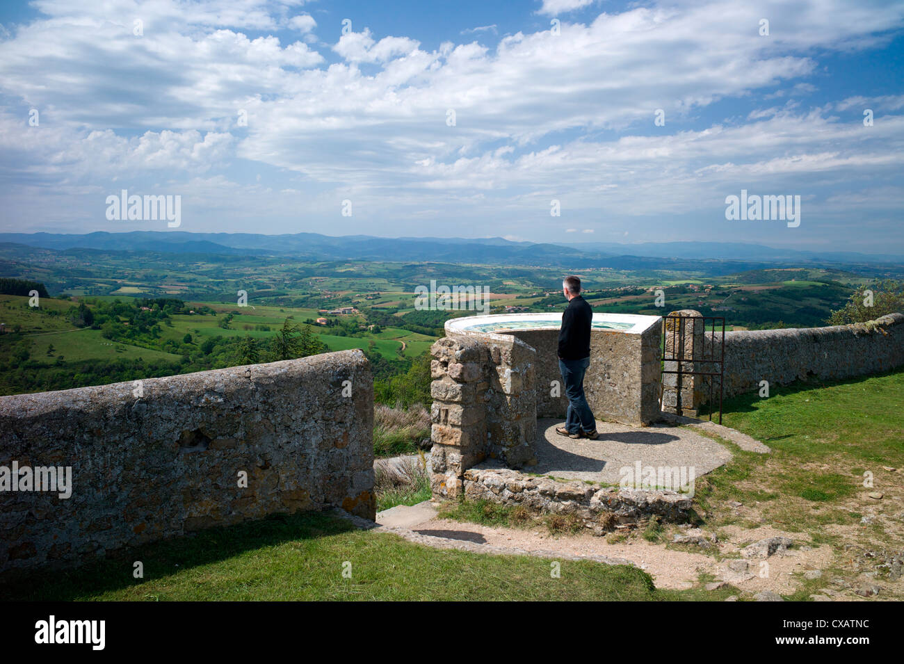 Viewpoint and orientation table at Saint Romain de Lerps, Ardeche, France, Europe - Stock Image