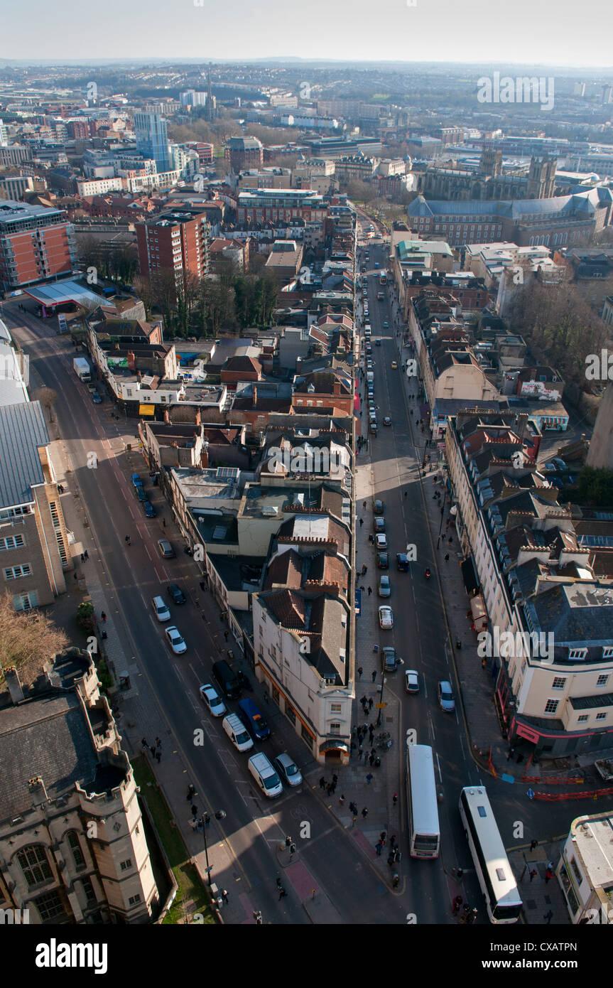 Looking down Park Street, Bristol, England, United Kingdom, Europe - Stock Image