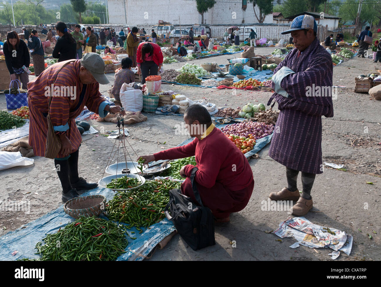 Weekly Sunday food market. Paro, Bhutan, Asia - Stock Image