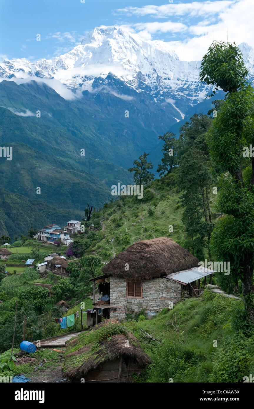 View of southern Annapurna with Landruk villge in foreground, Pokhara, Annapurna area, Nepal, Asia - Stock Image