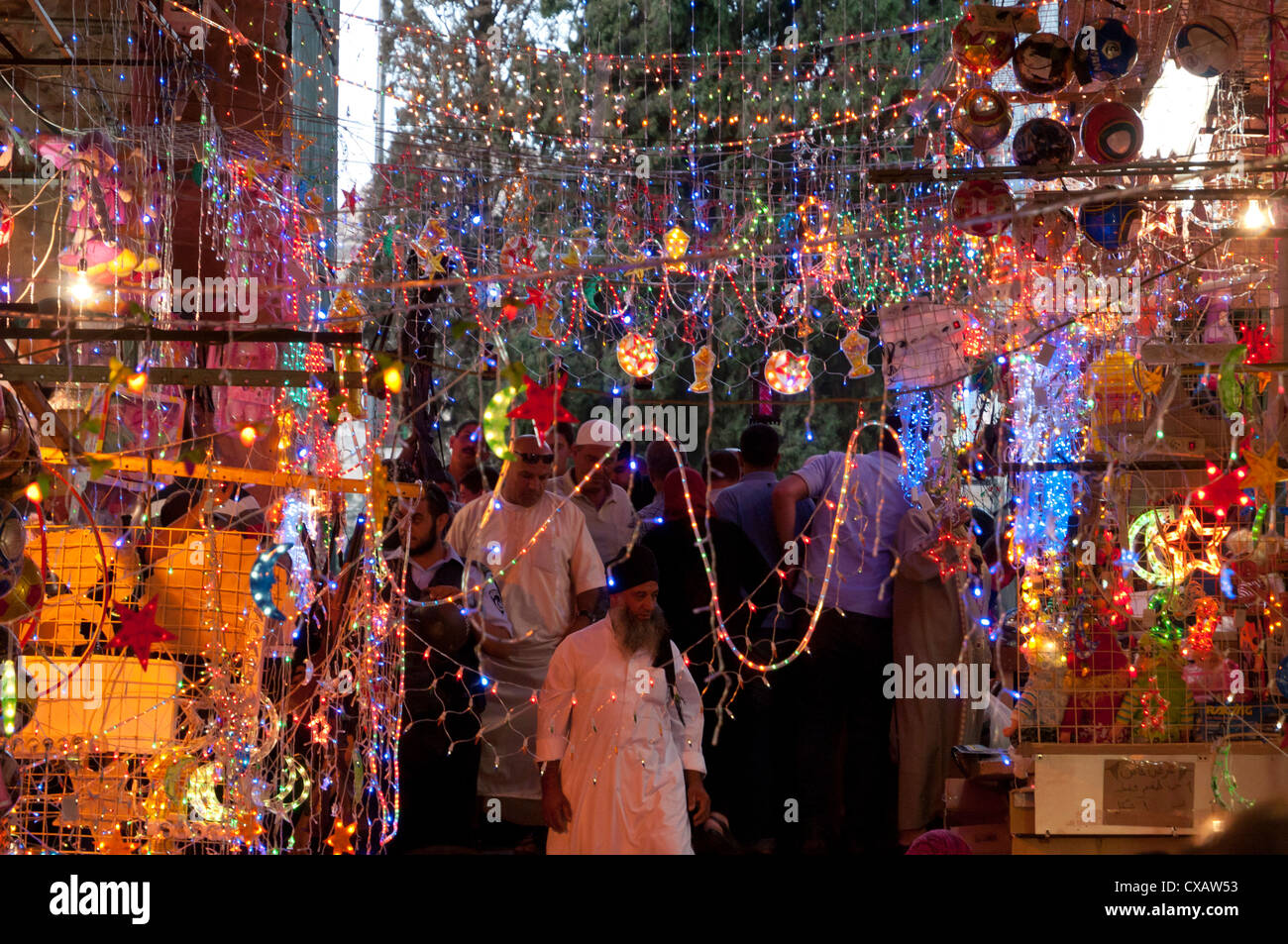 Ramadan decorations in a cotton market, Jerusalem Old City, Israel, Middle East - Stock Image