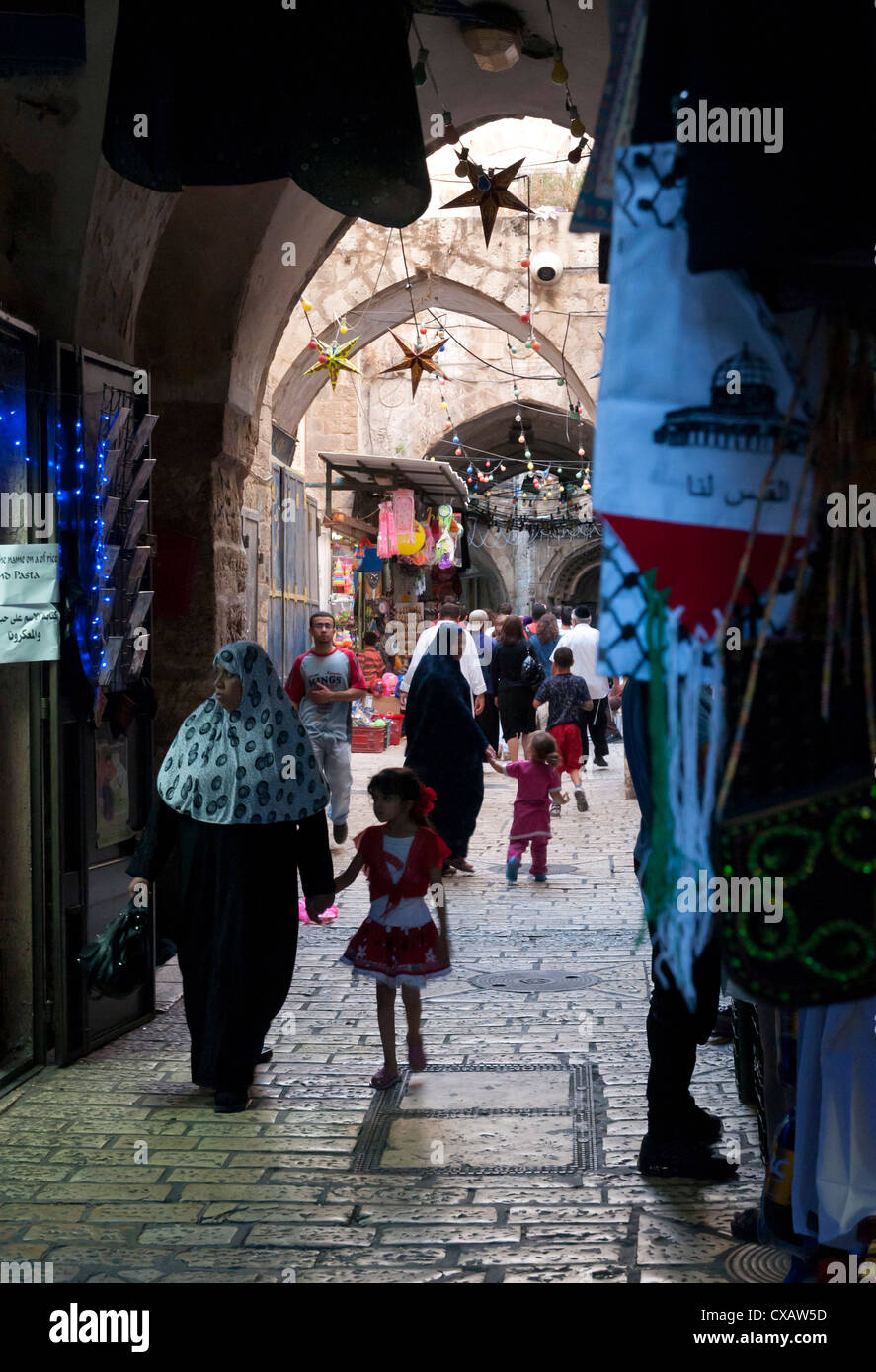 Ramadan decorations in the Old City, Jerusalem, Israel, Middle East - Stock Image