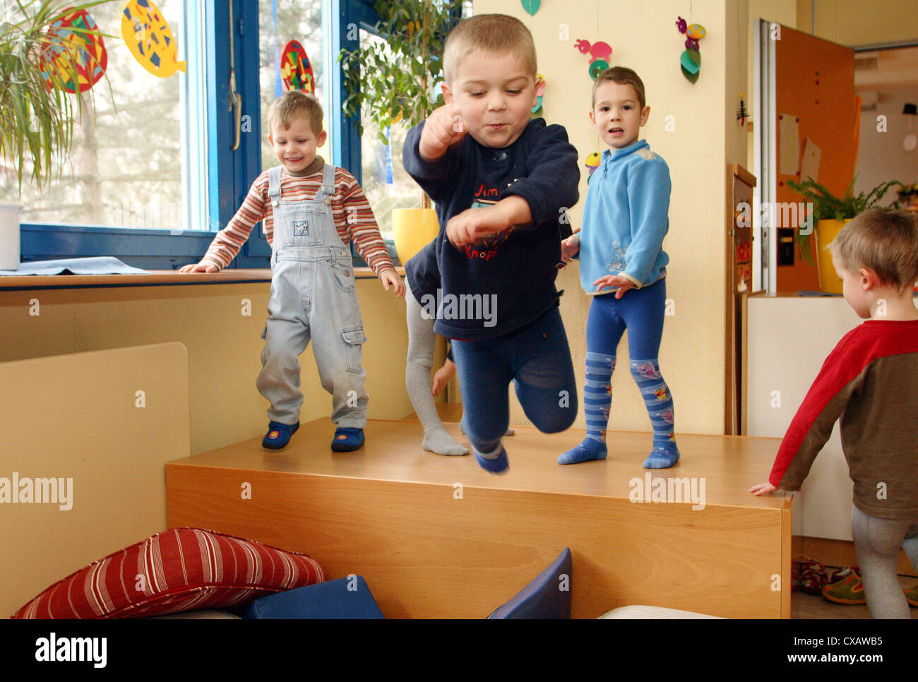 Daily routine in a Kindertagesstaette Stock Photo