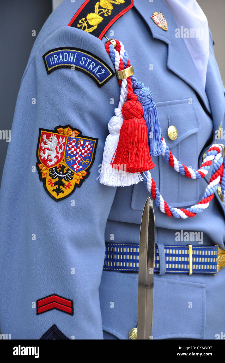 Close up of uniform of the Elite Guard at Prague Castle - Stock Image