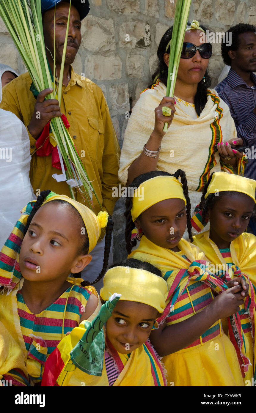 Ethiopian Palm Sunday procession on the roof of the Church of Holy Sepulchre. Old City, Jerusalem, Israel, Middle - Stock Image