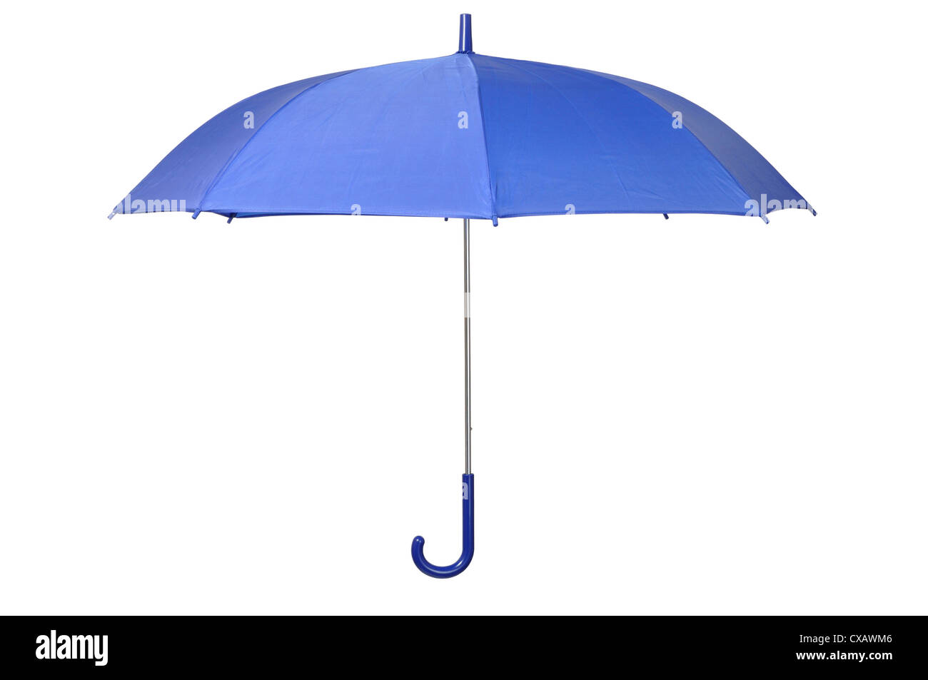 Open blue umbrella isolated on white background - Stock Image