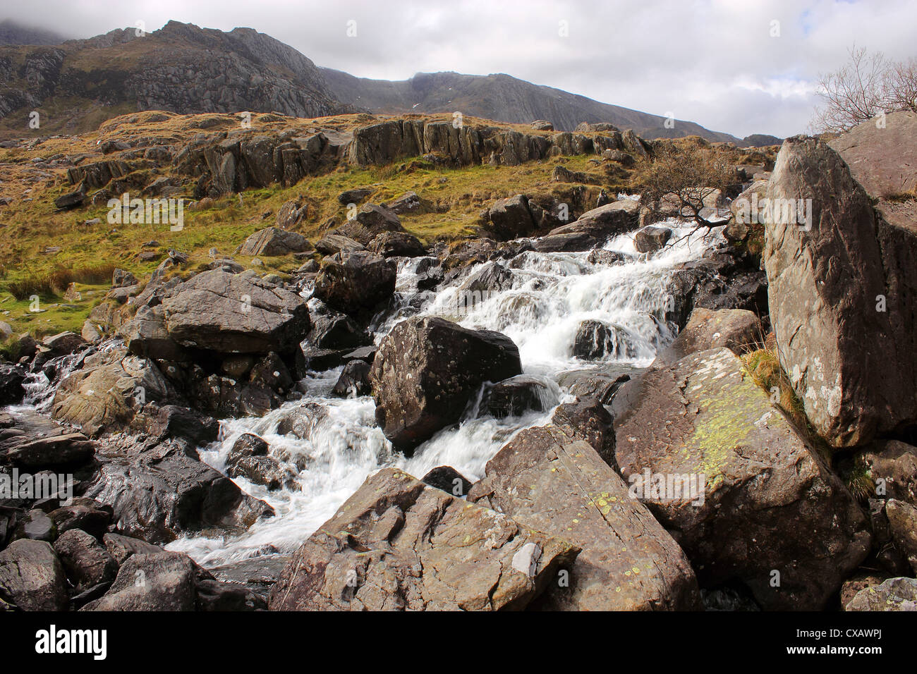 River Idwal drains from Llyn Idwal, in Cwn Idwal before tumbling down the Idwal Falls at Pont Pen-y-benglog, Snowdonia, - Stock Image