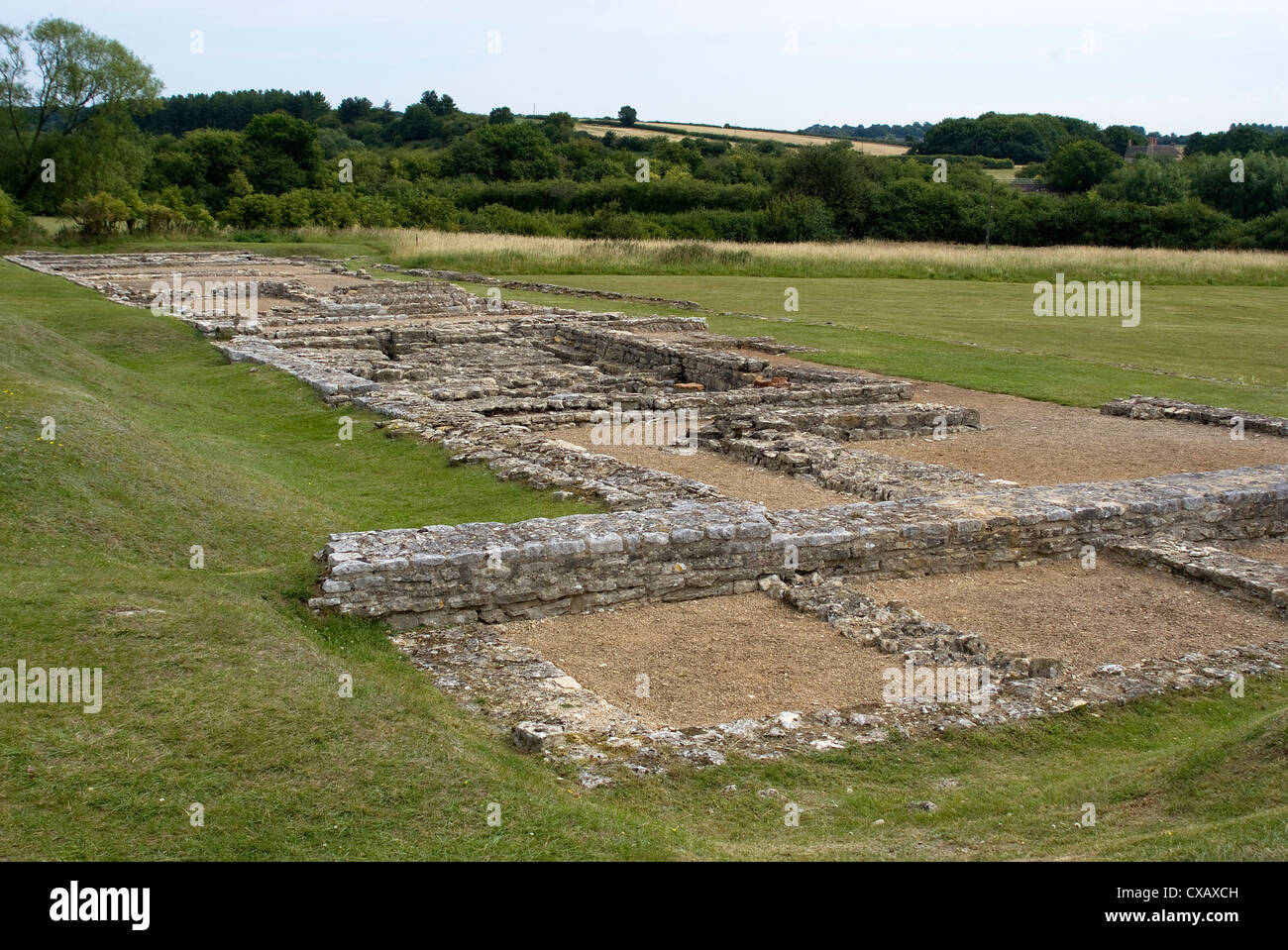 North Leigh Roman villa, the remains of a large manor house dating from the 1st to 3rd century AD, North Leigh, - Stock Image