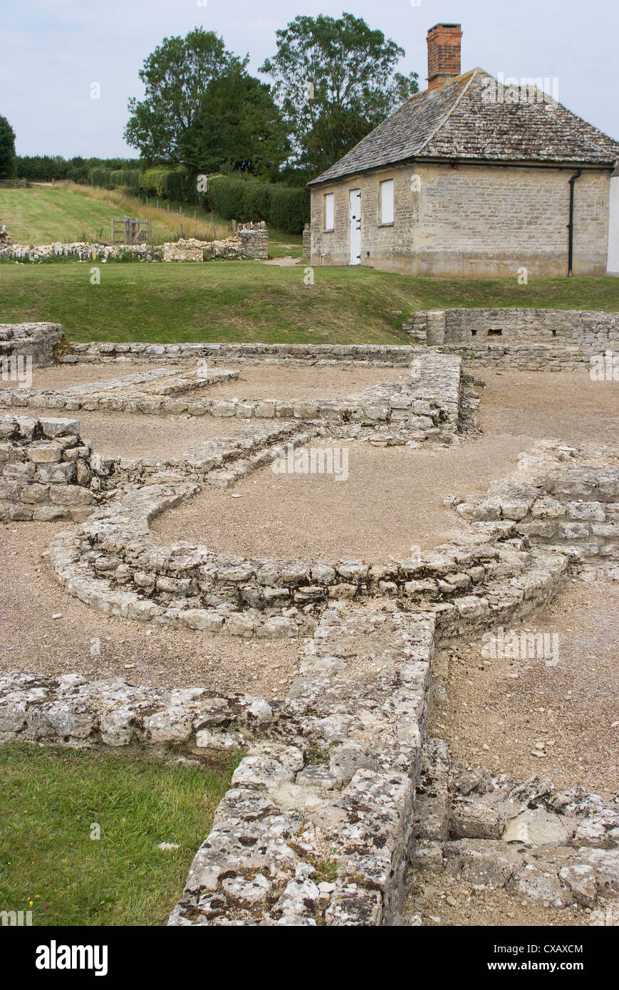 North Leigh Roman villa, the remains of a large manor house dating from the 1st to 3rd century AD, North Leigh, Stock Photo
