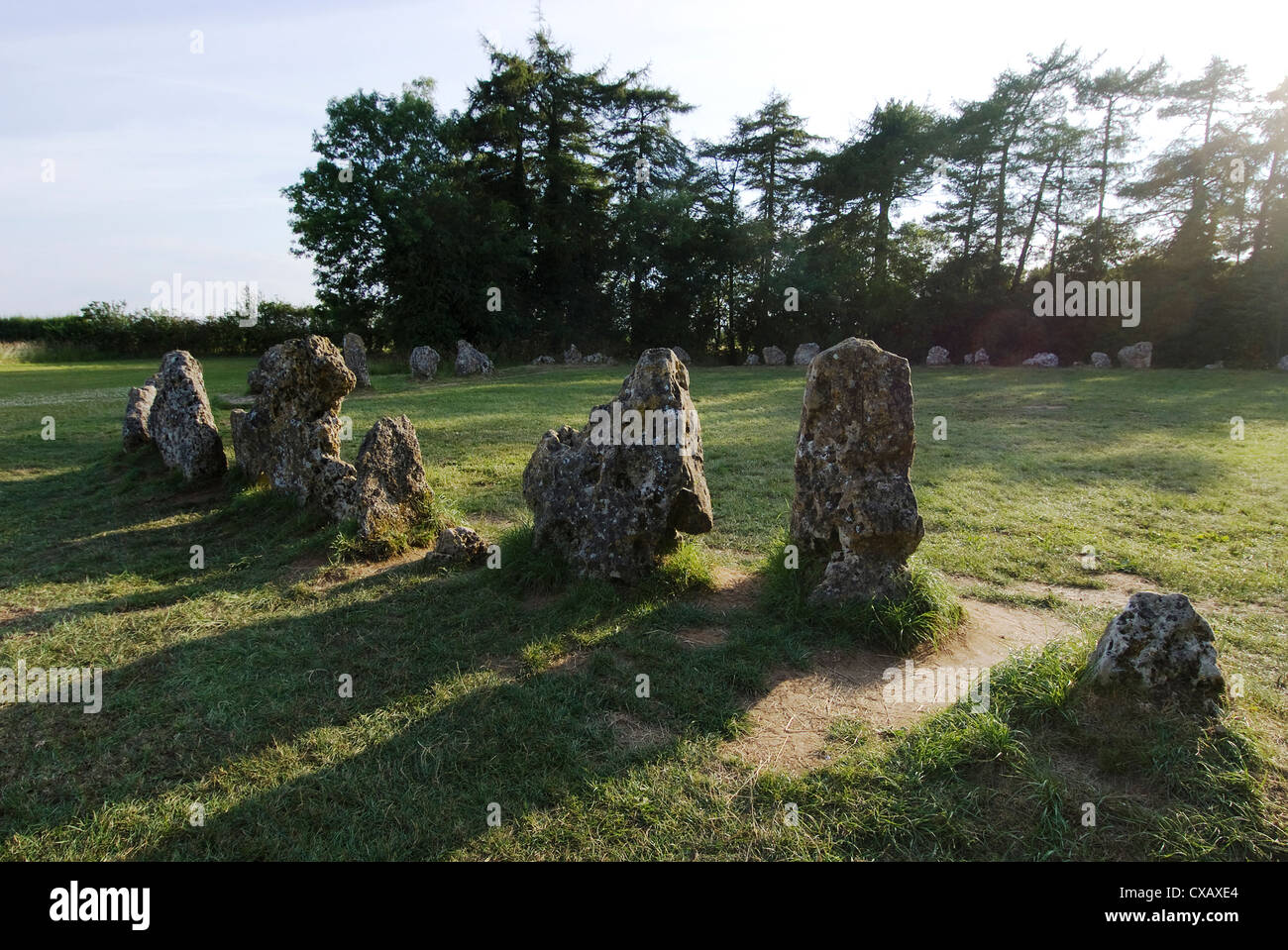 Rollright Stones, a Neolithic standing stone circle dating from around 2500BC, on the Oxfordshire Warwickshire border, - Stock Image