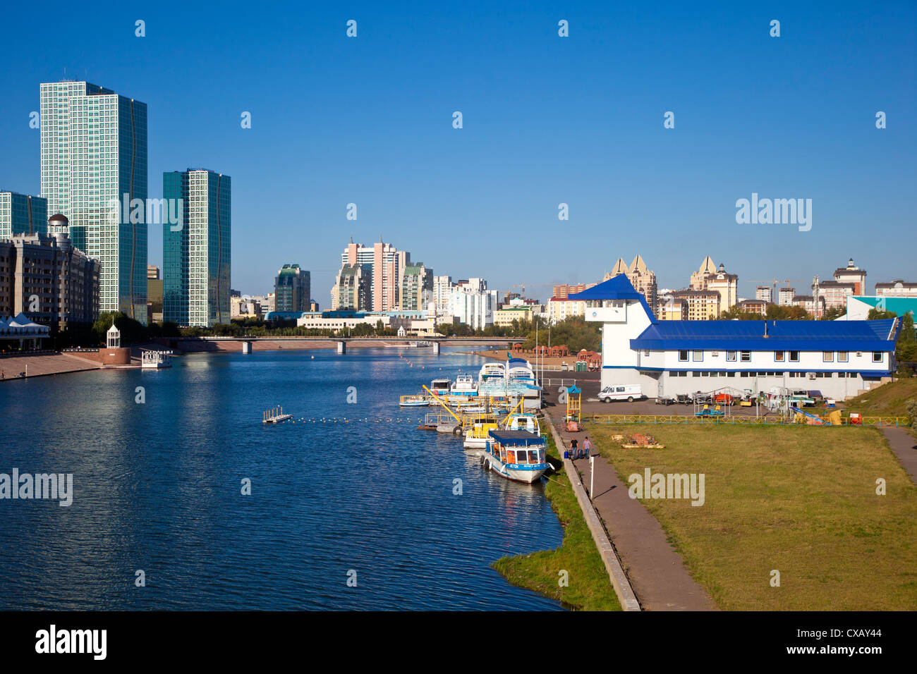 View of Ishim River, Astana, Kazakhstan, Central Asia, Asia - Stock Image
