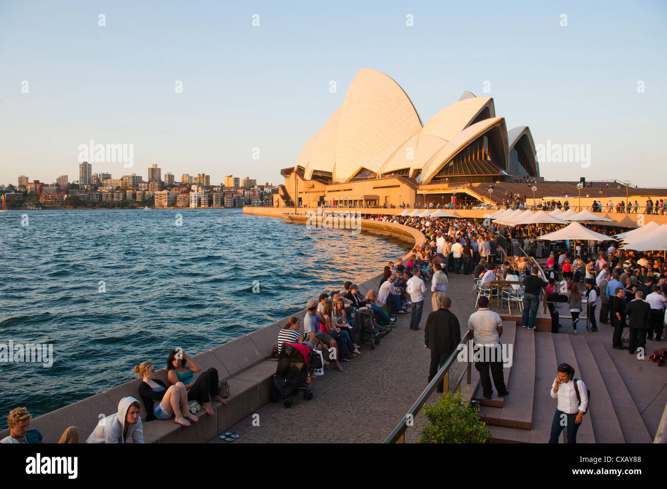 People enjoying the evening in Sydney, drinking at the Opera Bar, Sydney, New South Wales, Australia - Stock Image