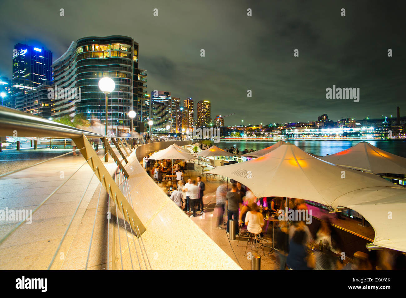 Opera Bar and Circular Quay at night, Syndey, New South Wales, Australia, Pacific - Stock Image