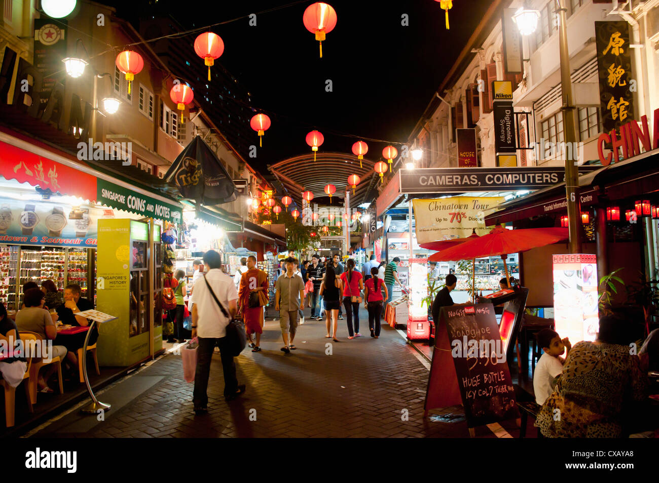 Chinatown Street Market At Night Singapore Southeast