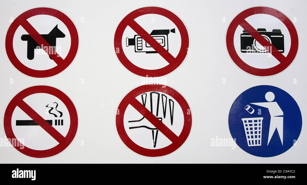Symbol photo, mandatory and prohibition signs - Stock Image