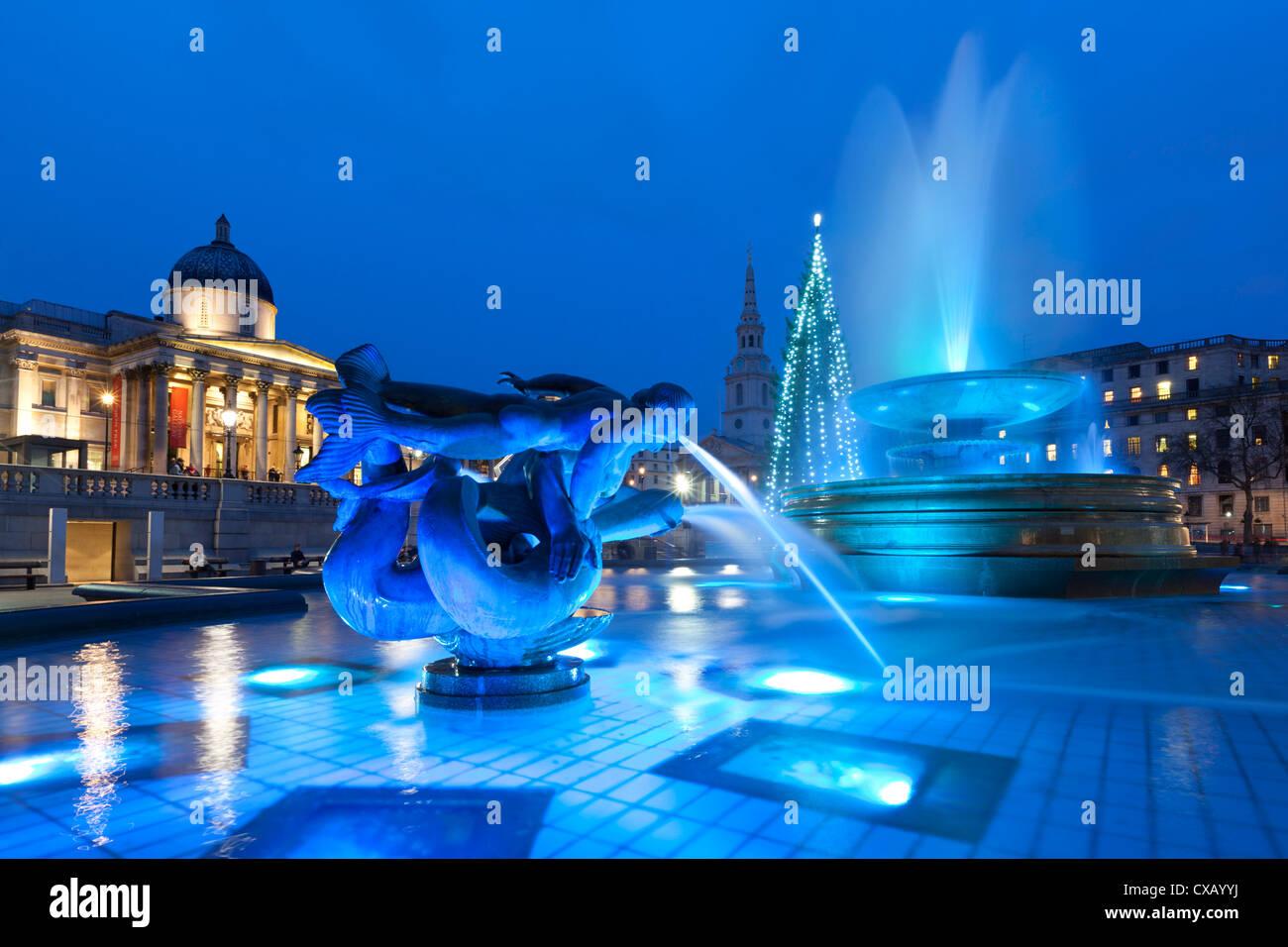 Trafalgar Square at Christmas, London, England, United Kingdom, Europe - Stock Image