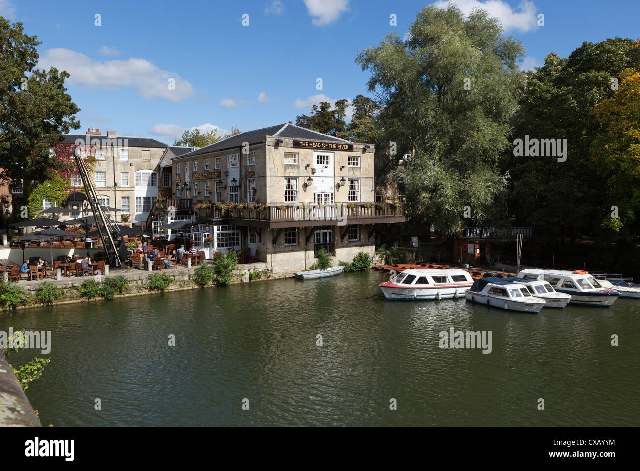 The Head of the River pub beside the River Thames, Oxford, Oxfordshire, England, United Kingdom, Europe - Stock Image