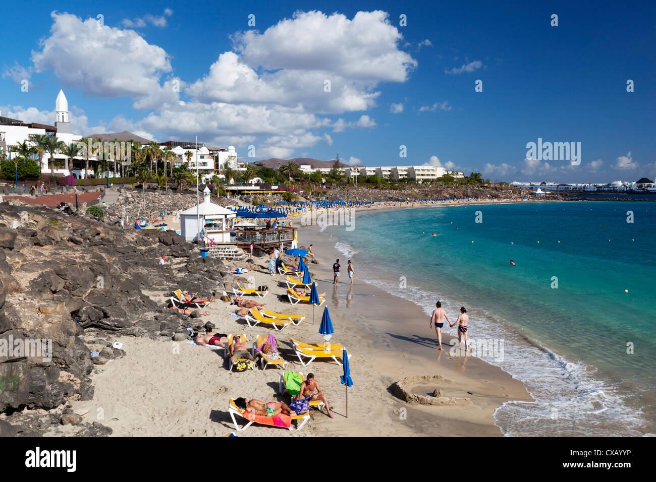 Beach view, Playa Blanca, Lanzarote, Canary Islands, Spain, Atlantic, Europe - Stock Image