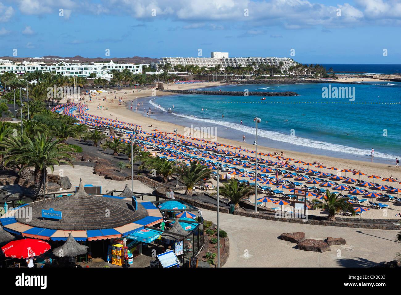 Playa de las Cucharas, Costa Teguise, Lanzarote, Canary Islands, Spain, Atlantic, Europe - Stock Image