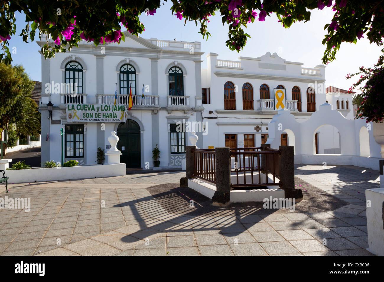 Plaza de la Constitucion and Ayuntamiento (town hall), Haria, Lanzarote, Canary Islands, Spain, Europe - Stock Image