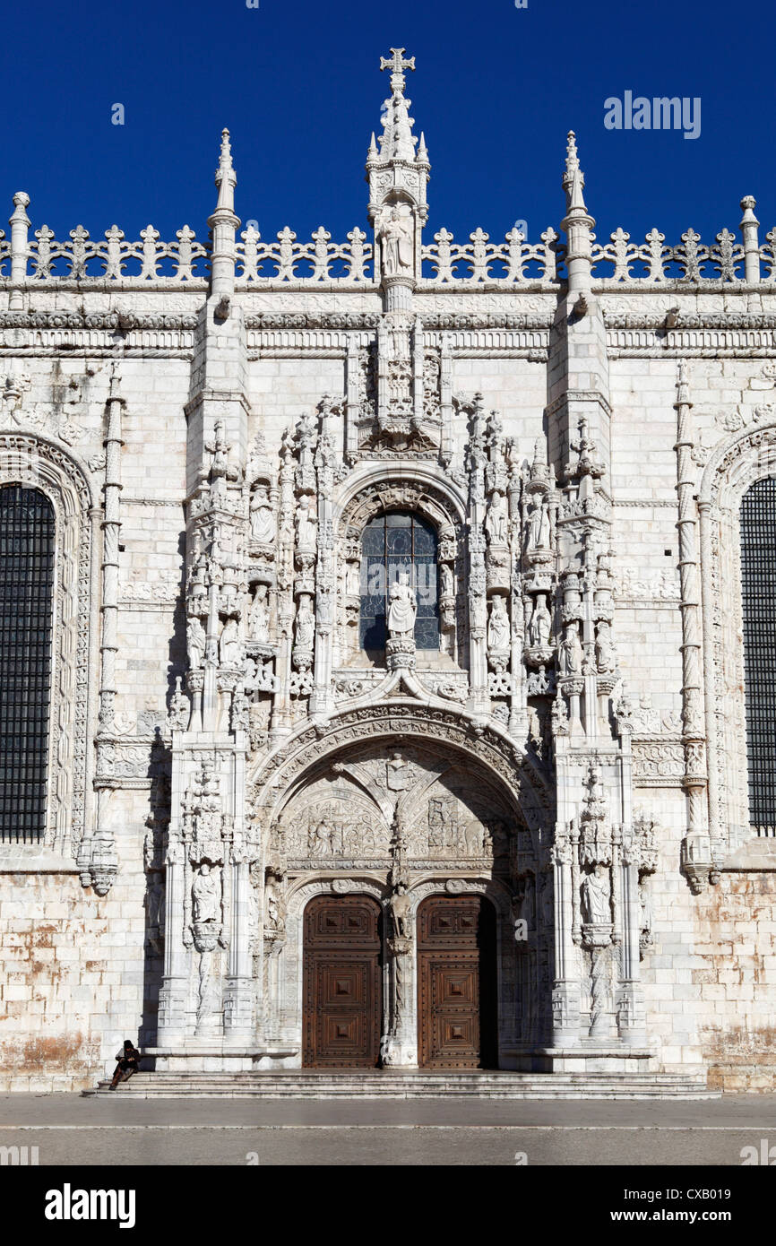 Main entrance with carving of Henry the Navigator, Mosteiro dos Jeronimos, UNESCO World Heritage Site, Belem, Lisbon, - Stock Image
