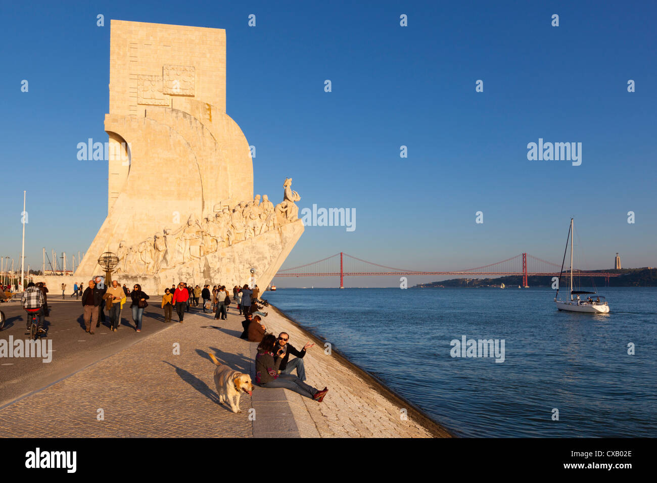 Monument to the Discoveries beside the Tagus River, Belem, Lisbon, Portugal, Europe - Stock Image