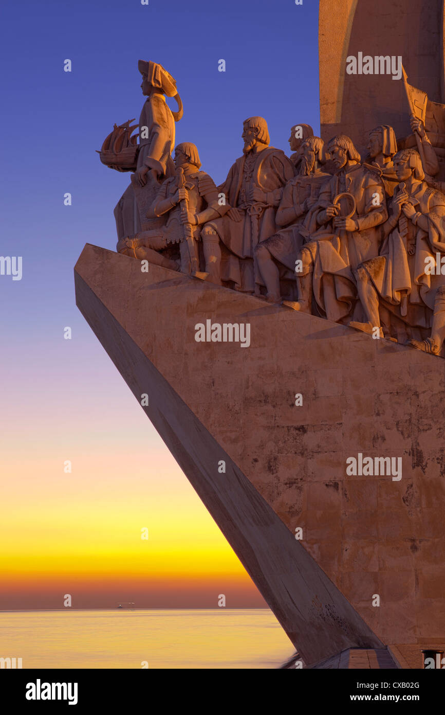 Monument to the Discoveries at dusk, Belem, Lisbon, Portugal, Europe - Stock Image