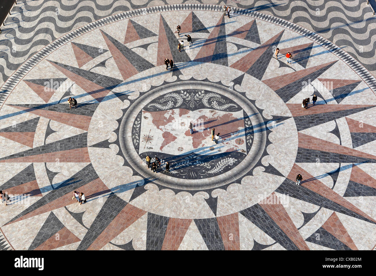 Pavement map showing routes of Portugese explorers below Monument to the Discoveries, Belem, Lisbon, Portugal, Europe - Stock Image