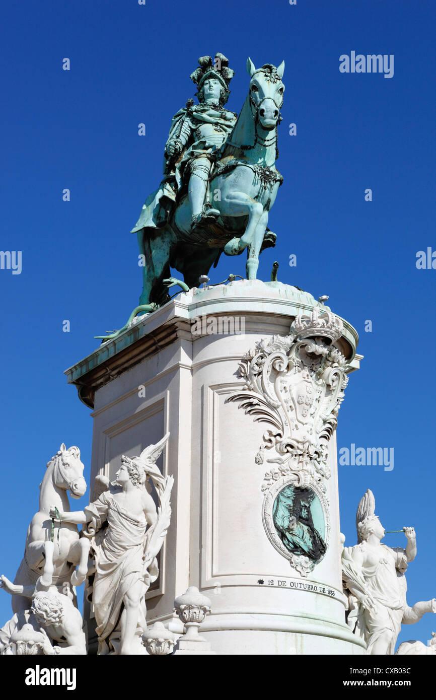 Equestrian statue of Dom Jose in Praca do Comercio, Baixa, Lisbon, Portugal, Europe - Stock Image
