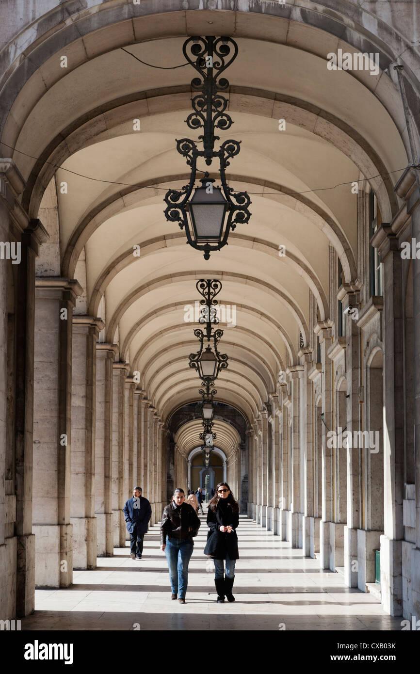 Arcade on Praca do Comercio, Baixa, Lisbon, Portugal, Europe - Stock Image